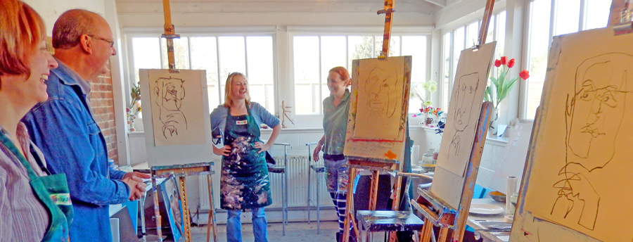 a drawing session on the portrait course