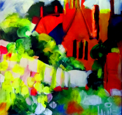 Begin impressionistic acrylic painting